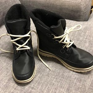 Black and white hiking boots
